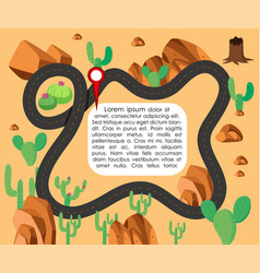Map of desert with cactus and rocks vector