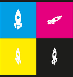 rocket sign white icon with vector image vector image