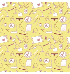 Seamless pattern with tools for embroidery vector