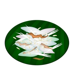 Thai Sticky Rice Cake on Green Banana Leaf vector image vector image