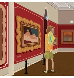 Tourist in picture gallery vector