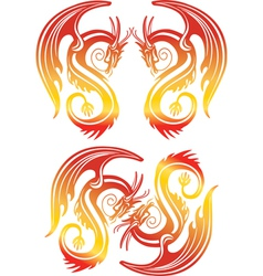 Two dragons vector