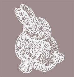 Vintage lace bunny vector image vector image