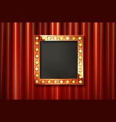 Vintage portrait frame on curtain wall vector
