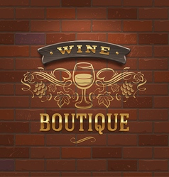 Wine boutique vintage signboard on brick wall vector