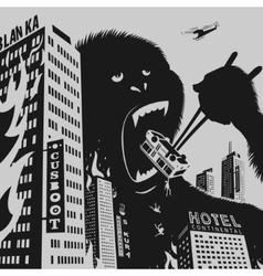 Big gorilla destroys city vector