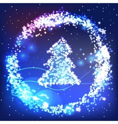 Christmas greeting card with shiny tree vector image