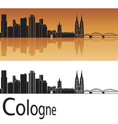 Cologne skyline in orange background vector