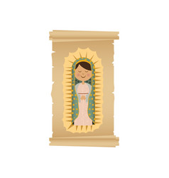 background with canvas of virgin of guadalupe vector image