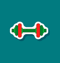 Paper sticker on stylish background dumbbell vector