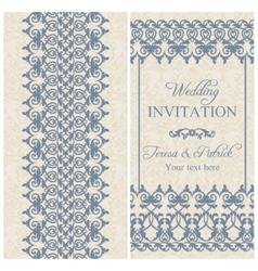 Baroque wedding invitation dark blue vector image