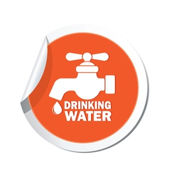 Drinking water orange label vector