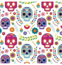 Mexico pattern with skull and flowers vector