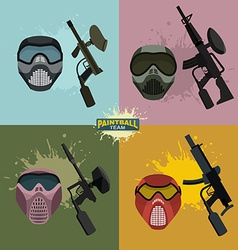 Set paintball helmet and guns vector