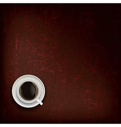 abstract grunge brown background with coffee cup vector image