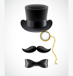 Vintage silhouette of top hat mustaches monocle vector