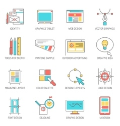 Designer icons line set vector