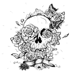 Skull and flowers day of the vector
