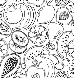 Black and white doodle fruit seamless pattern vector
