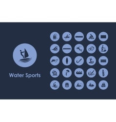 Set of water sports simple icons vector