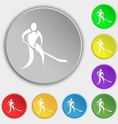 Winter sport hockey icon sign symbol on eight flat vector