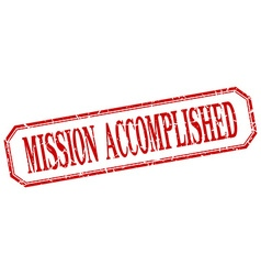 Mission accomplished square red grunge vintage vector