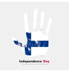 Handprint with the flag of finland in grunge style vector