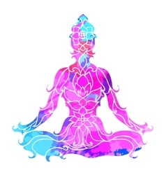 Girl in lotus pose over ornate round mandala vector