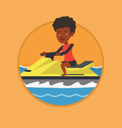 african woman training on jet ski in the sea vector image vector image