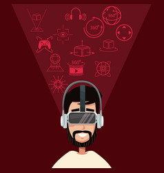 Bearded young man virtual reality wearing goggle vector
