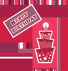 Birthday card with cake and candle vector