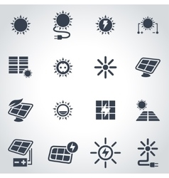 black solar energy icon set vector image
