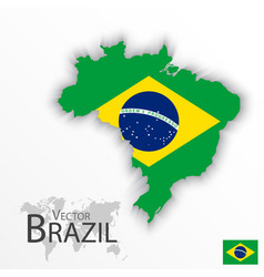 brazil flag and map vector image