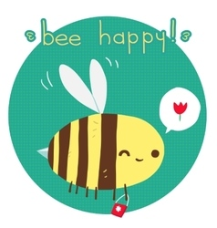 cartoon flat Bee happy postcard vector image vector image