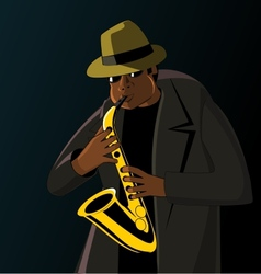 Cartoon jazzman playing on a saxophone vector image vector image