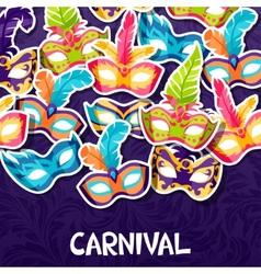 Celebration festive background with carnival masks vector