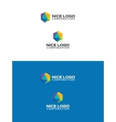 colored icosahedron logo vector image