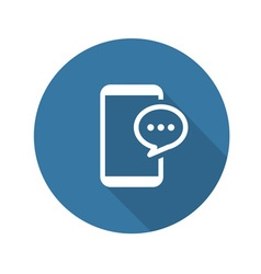 Flat phone message icon vector
