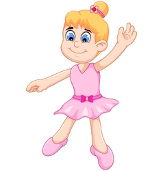 Funny little girl cartoon playing ballet vector