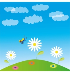 glade flowers and butterfly vector image vector image