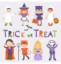 Halloween kids set vector image vector image
