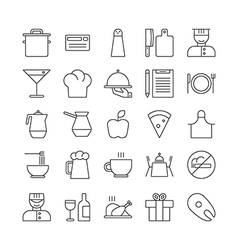 Icon set for restaurant in thin line style vector image