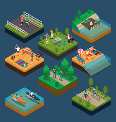 isometric activity people composition vector image vector image