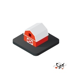 Isometric red barn icon building city infographic vector