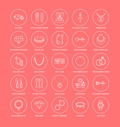 jewelry flat line icons jewellery store signs vector image vector image