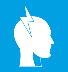 Lightning bolt inside head icon white vector