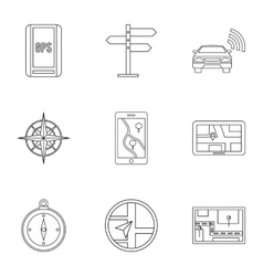 Location icons set outline style vector image