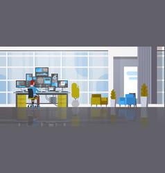 Man working in data center room hosting server vector
