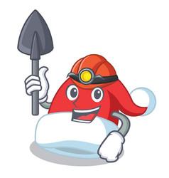 Miner christmas hat character cartoon vector