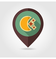 Moon and stars retro flat pin map icon weather vector